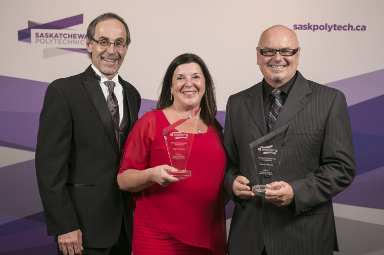 Receiving the awards on behalf of Faculty of Nursing, University of Regina Dr. Vianne Timmons, President and Vice Chancellor, University of Regina and Dr. david Gregory, Dean of Nursing, University of Regina