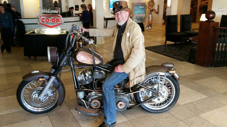 Rob Gilchrist, Industrial Mechanics program head, with his award-winning steampunk bike