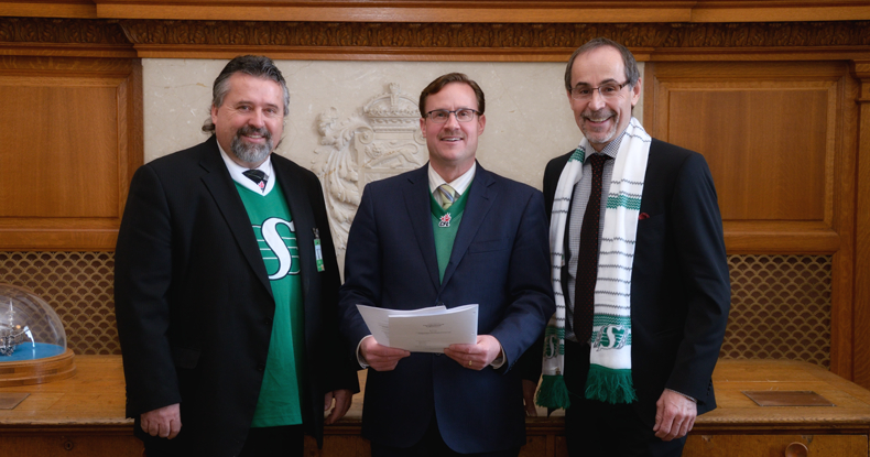 Ralph E. Boychuk, Dr. Larry Rosia and Minister Rob Norris