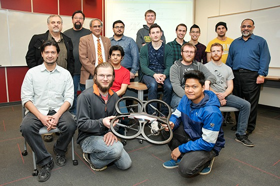 Students and instructors show off a quadcopter. The Engineering and Applied Science class is laying the groundwork for further collaborations between Sask Polytech and the U of R. Photo by Trevor Hopkin - U of R Photography.