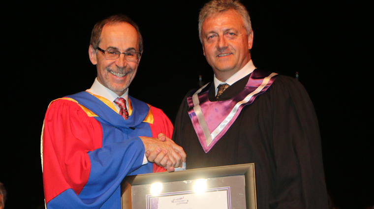 Industry leader Gord Broda receives 2016 honorary diploma at Prince Albert Convocation