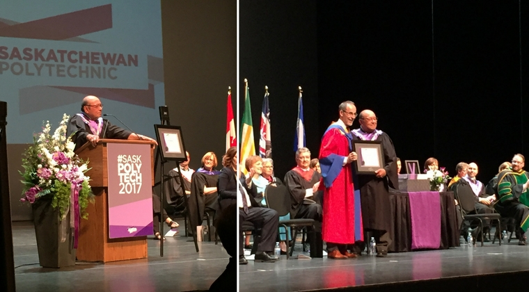 Elder Fred Sasakamoose receives honorary diploma at Saskatoon Convocation