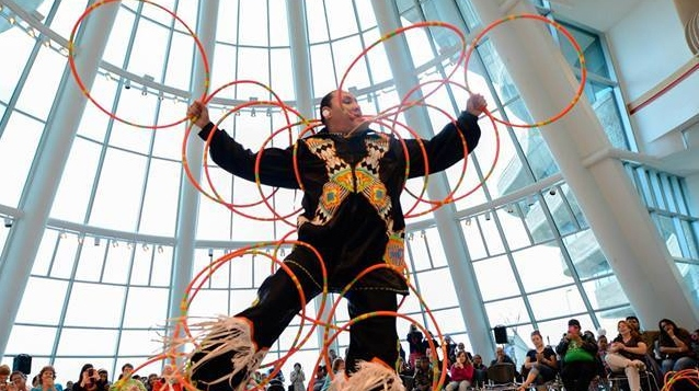 Grass and hoop dancer Terrence Littletent speaking at Intercultural Week