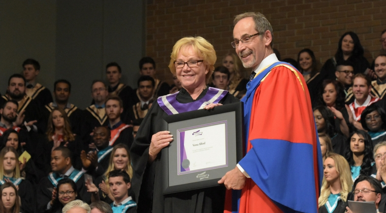 Ms. Verna Alford receives honorary diploma at Moose Jaw Convocation