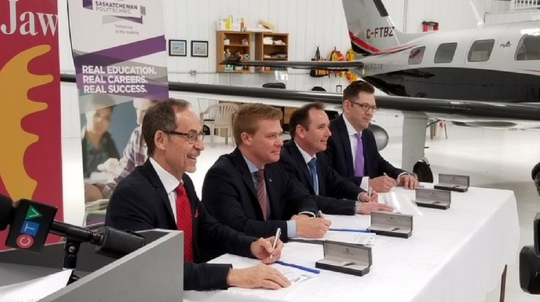 CAE, City of Moose Jaw and Saskatchewan Polytechnic sign drone MOU