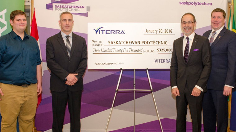 From left to right: Teagan Gyorfi, student Telecommunications Networking Technician program; Jeff Cockwill, director, Corporate Affairs: Dr. Larry Rosia, president & CEO, Saskatchewan Polytechnic; Scott Moe, minister of Advanced Education. Image Credit: Saskatchewan Polytechnic