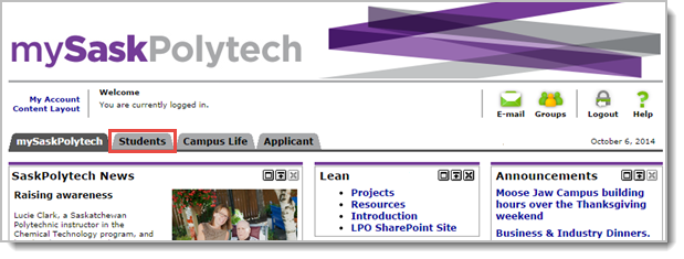 mySaskPolytech students tab